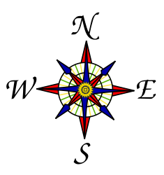 A compass rose shows the cardinal directions-- North, East, South ...