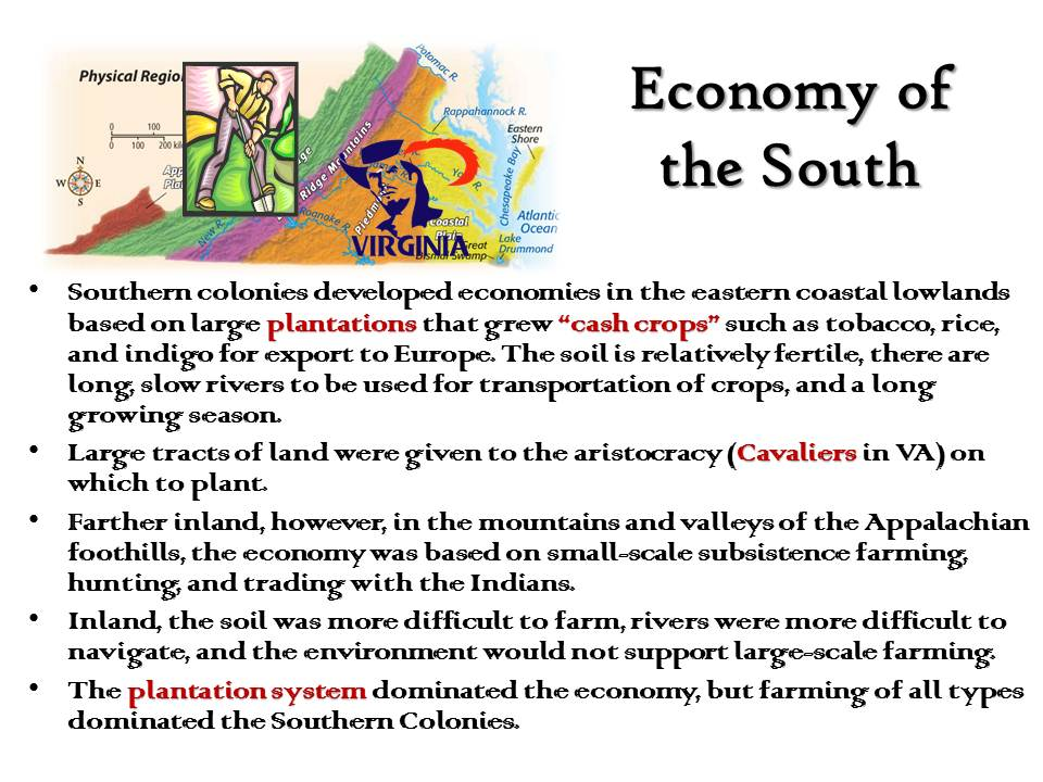 social and economic development in colonial virginia Social life in the southern colonies was based on the strict social class system in place at the time, so activities varied for those colonists who were wealthy versus those who were poor, and for those who were free versus indentured servants or slaves.