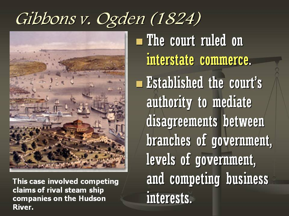 an essay on gibbons vs ogden The gibbons v ogden case was also known as the steamboat case in 1824 it occurred when new york tried to grant a private concern on a monopoly of waterborne commerce between new york and.