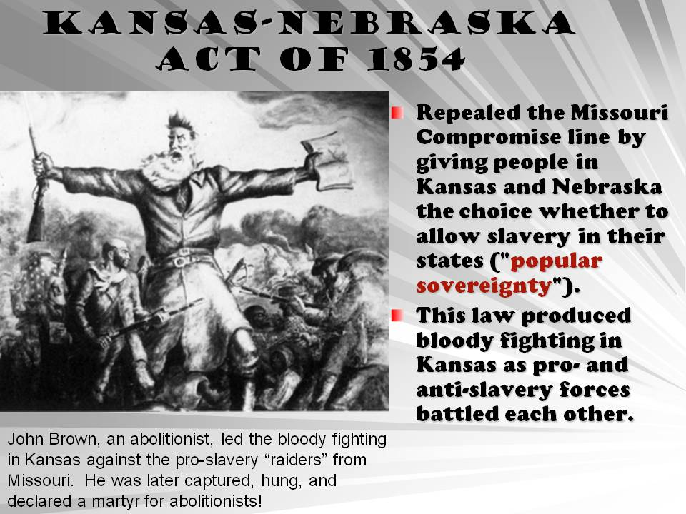 an analysis of the kansas nebraska act The kansas–nebraska act of 1854 (10 stat 277) created the territories of kansas and nebraska and was drafted by democratic senator stephen a douglas of illinois and president franklin pierce.